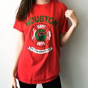 90s Vintage Houston Justice Graphic Tee Red Large